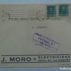 Sellos: GUERRA CIVIL: CARTA J. MORO LA CORUÑA A SEVILLA, SELLOS Y VIÑETA PRO-COMBATIENTE CORUÑA. 1938. Lote 223360433