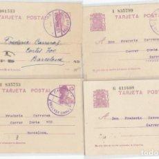 Timbres: ENTERO 69. CUATRO EJEMPLARES DE 1932/35 CON MAT. CARTERIA CIRCULAR DE BELLVER (LLEIDA).. Lote 223841893