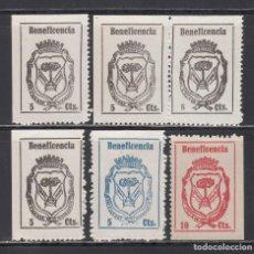 Sellos: BENEFICENCIA, MANZANILLA (HUELVA), DISTINTOS TIPOS, VALORES Y VALORES.. Lote 223852283