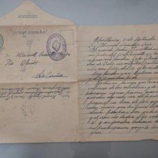 Sellos: ANTIGUO SOBRE/CARTA ¡VIVA FRANCO! CENSURA MILITAR 1937 INGENIEROS GUERRA CIVIL. Lote 223987125