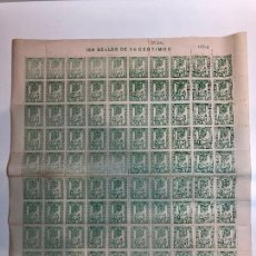 Francobolli: PLIEGO DE 100 SELLOS 50 CENTIMOS, PATRONATO SOCIAL JOSE ANTONIO.. Lote 223989308