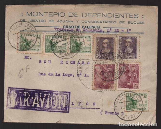 POSTAL CIRCULADA A FRANCIA- C.M. AVION-- MONTEPIO DE DEPENDIENTES- - VER FOTO (Sellos - España - Guerra Civil - Locales - Cartas)
