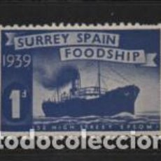Sellos: VIÑETA, SURREY SPAIN FOODSHIP. 1 D. VER FOTO. Lote 224043647