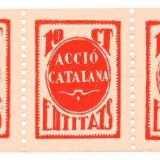 Sellos: S143 ACCIO CATALANA: ENTITATS – BLOQUE 3 VIÑETAS 10 CTS – NUEVAS / REVERSO NUMERADO. Lote 224265946