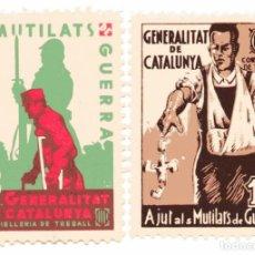 Sellos: S148 LOTE 2 VIÑETAS GENERALITAT DE CATALUNYA: AJUT ALS MUTILATS DE GUERRA. Lote 224265996