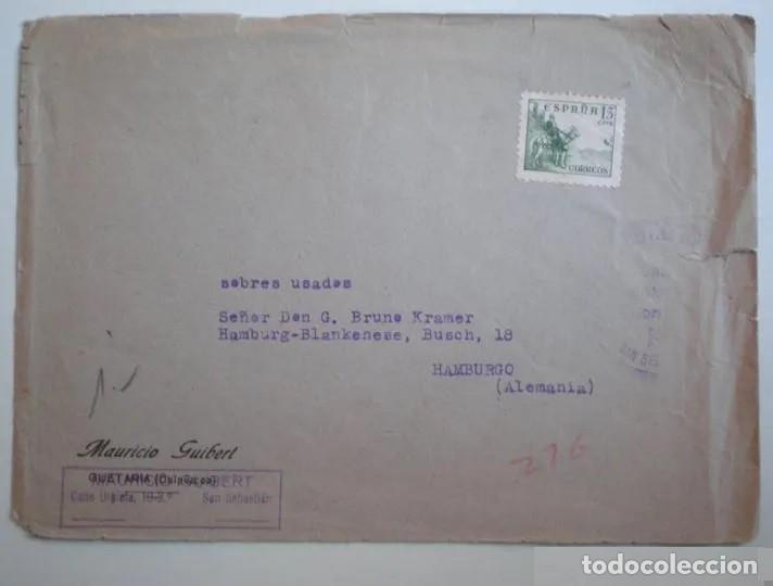 SOBRE FRANQUEADO, CENSURA MILITAR FRANQUISTA, DE SAN SEBASTIÁN A ALEMANIA, SIN CONTENIDO. (Sellos - España - Guerra Civil - De 1.936 a 1.939 - Usados)