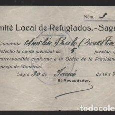 Selos: SAGRA-ALICANTE- 5 PTAS- COMITE LOCAL DE REFUGIADOS- AÑO 1937-VER FOTO. Lote 225091822