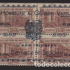 Sellos: SEGOVIA, BLOQUE SOBRECARGADO,- HOMENAJE A GENERAL VARELA,- VER FOTO. Lote 225193220