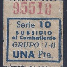 Sellos: VIÑETA SUBSIDIO AL COMBATIENTE. SERIE 10. GRUPO I-I. UNA PESETA.. Lote 225296320