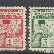Francobolli: 7409--LOTE SELLOS FISCALES 1 Y 3 PESETAS.MUTUALIDAD ENSEÑANZA MAGISTERIO SPAIN REVENUE,BENEFICENCIA,. Lote 225317176