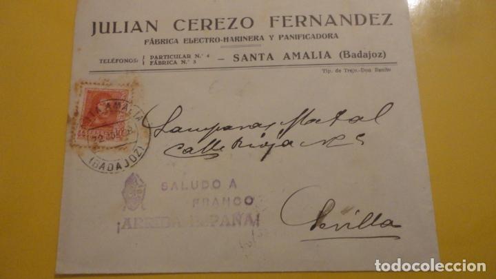 ANTIGUO SOBRE CENSURA MILITAR.JULIAN CEREZO FERNANDEZ.PANIFICADORA.SANTA AMALIA BADAJOZ 1938 (Sellos - España - Guerra Civil - Locales - Cartas)