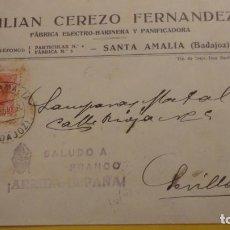 Sellos: ANTIGUO SOBRE CENSURA MILITAR.JULIAN CEREZO FERNANDEZ.PANIFICADORA.SANTA AMALIA BADAJOZ 1938. Lote 225615270
