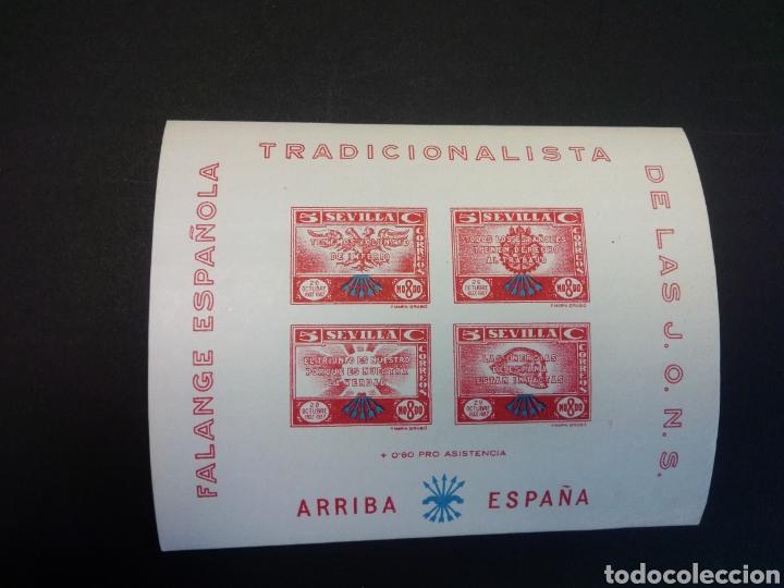 FALANGE NACIONAL TRADICIONALISTA. SEVILLA. SIN DENTAR. NUMERADA. (Sellos - España - Guerra Civil - Locales - Nuevos)
