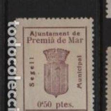 Sellos: PREMIA DE MAR- 50 CTS.- REPUBLICA- CORONAL MURAL- VER FOTO. Lote 225725841