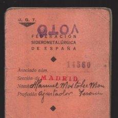 Sellos: MADRID,CARNET, U.G,T. -EL BALUARTE- CON 56 CUOTAS AÑOS 1937-38-39- VARIEDADES, VER FOTO. Lote 225872623