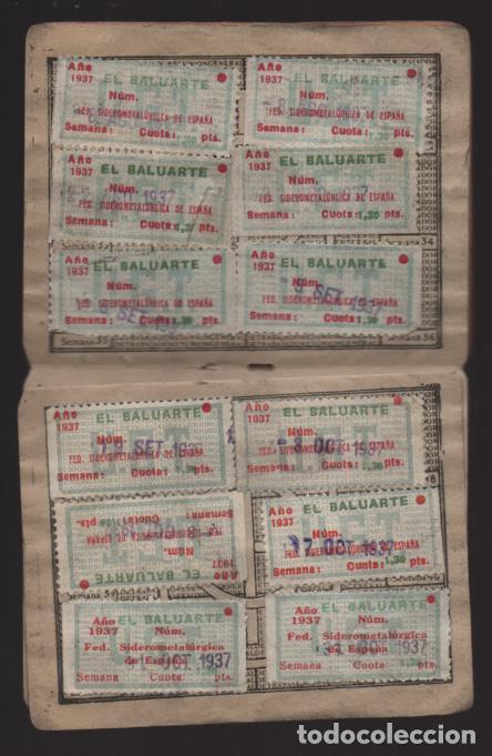 Sellos: MADRID,CARNET, U.G,T. -EL BALUARTE- CON 56 CUOTAS AÑOS 1937-38-39- VARIEDADES, VER FOTO - Foto 3 - 225872623