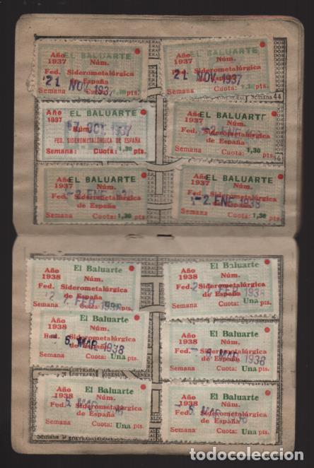 Sellos: MADRID,CARNET, U.G,T. -EL BALUARTE- CON 56 CUOTAS AÑOS 1937-38-39- VARIEDADES, VER FOTO - Foto 4 - 225872623