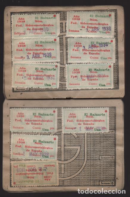 Sellos: MADRID,CARNET, U.G,T. -EL BALUARTE- CON 56 CUOTAS AÑOS 1937-38-39- VARIEDADES, VER FOTO - Foto 5 - 225872623