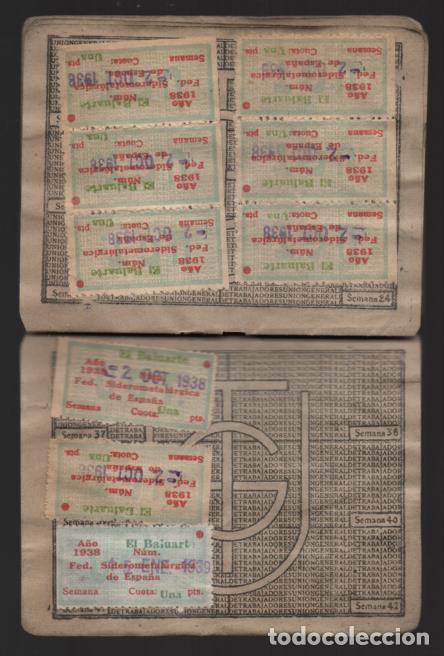 Sellos: MADRID,CARNET, U.G,T. -EL BALUARTE- CON 56 CUOTAS AÑOS 1937-38-39- VARIEDADES, VER FOTO - Foto 6 - 225872623