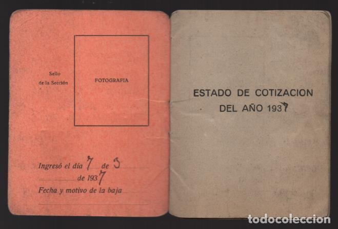 Sellos: MADRID,CARNET, U.G,T. -EL BALUARTE- CON 56 CUOTAS AÑOS 1937-38-39- VARIEDADES, VER FOTO - Foto 9 - 225872623