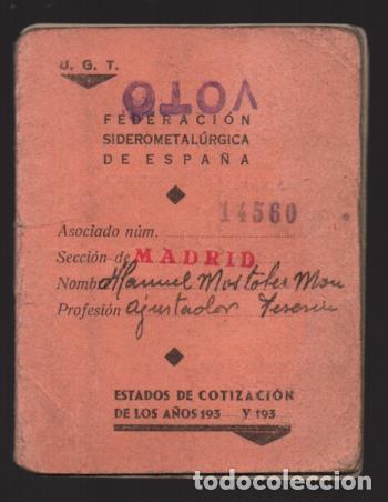 Sellos: MADRID,CARNET, U.G,T. -EL BALUARTE- CON 56 CUOTAS AÑOS 1937-38-39- VARIEDADES, VER FOTO - Foto 10 - 225872623