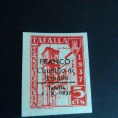 Sellos: VIÑETA DE BENEFICENCIA. SOBRECARGA FRANCO CAUDILLO DE ESPAÑA. TAFALLA, NAVARRA. GUERRA CIVIL.. Lote 225956705