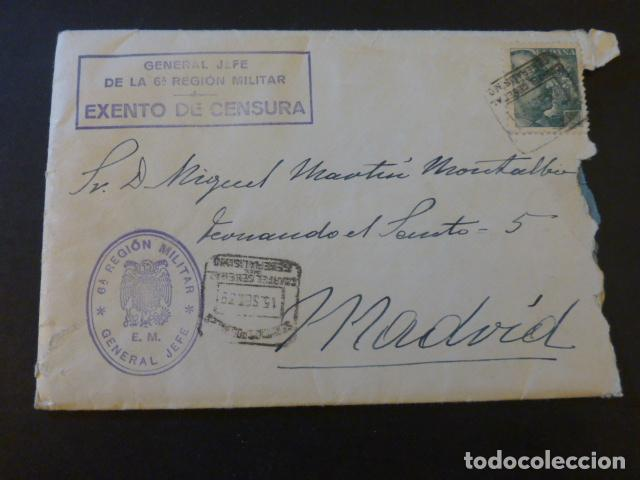 SOBRE 1939 EXENTO CENSURA GENERAL JEFE 6ª REGION MILITAR CARTAS RECOMENDACION PENSION ALIMENTICIA (Sellos - España - Guerra Civil - De 1.936 a 1.939 - Cartas)