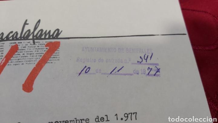 Sellos: 16 VIÑETAS CONGRÉS DE CULTURA CATALANA 1977. CARTA DEL CONGRÉS AL AYUNTAMIENTO BENIFALLET - Foto 3 - 227880840