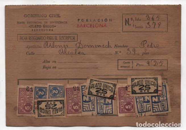 BARCELONA,- FICHA -PLATO UNICO Y DIA SIN POSTRES- 48 SELLOS. VER REVERSO. VER FOTOS (Sellos - España - Guerra Civil - Viñetas - Usados)