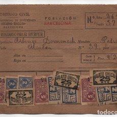 Sellos: BARCELONA,- FICHA -PLATO UNICO Y DIA SIN POSTRES- 48 SELLOS. VER REVERSO. VER FOTOS. Lote 227909995
