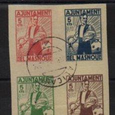 Sellos: EO MASNOU, BLOQUE DE 5 CTS. SIN DENTAR, VER FOTO. Lote 228058130