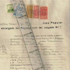 """Selos: 1938 1937 JUEZ POPULAR """"ANDRÉS MARIO LOPEZ"""" CERTIFICADO MATRIMONIO EN PLENA GUERRA CIVIL CON SELLOS. Lote 228499125"""