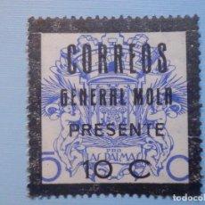 Sellos: VIÑETA - BENEFICENCIA - PRO LAS PALMAS - SOBRE CARGA 10 CTS, CORREOS, GENERAL MOLA PRESENTE. Lote 228585010