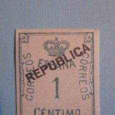 Sellos: EDIFIL 291 - SOBRE IMPRESIÓN REPÚBLICA - 1 CÉNTIMO - NUEVO CON CHARNELA. Lote 228675380