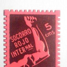 Sellos: VIÑETA LOCAL - BENEFICENCIA - SOCORRO ROJO INTERNACIONAL - CARAVACA - 5 CTS - CÉNTIMOS. Lote 228840405