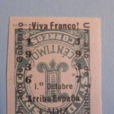 Sellos: EDIFIL 814 1 CTS - SOBRECARGA AL REVÉS - CADIZ 1º OCTUBRE 1937 ARRIBA ESPAÑA - NUEVO. RARO. Lote 228877245