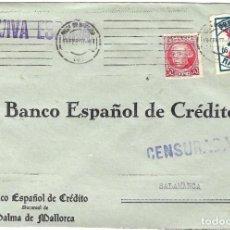 Sellos: 1937 (13 FEB) CARTA REPÚBLICA. PALMA DE MALLORCA A SALAMANCA. GUERRA CIVIL. CENSURA. PRO PARO. Lote 230291950