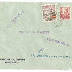 Sellos: 1937 (FEB) CARTA CENSURA. VILLAGARCIA - PONTEVEDRA A SALAMANCA. GUERRA CIVIL. POR LA PATRIA. Lote 230309515