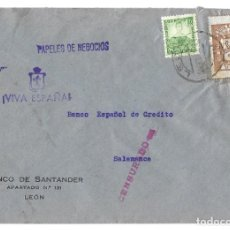 Sellos: 1937 CARTA CENSURA. LEÓN A SALAMANCA. GUERRA CIVIL. PARO OBRERO. FRANQUEO SELLO REPUBLICA. Lote 230309990