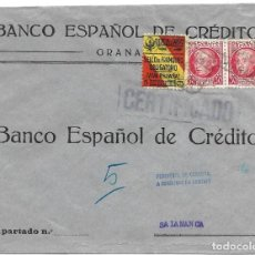 Sellos: 1937 CARTA CENSURA. PENDIENTE DE CENSURAR CERTIFICADO GRANADA A SALAMANCA. GUERRA CIVIL.. Lote 230310675