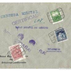 Sellos: 1937 CARTA CERTIFICADO CENSURA. PEÑARROYA - CÓRDOBA A SALAMANCA. GUERRA CIVIL. SELLOS REPÚBÚBLICA. Lote 230311620