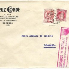 Sellos: 1937 (27 FEB) CARTA CENSURA CÓRDOBA A SALAMANCA. GUERRA CIVIL. SELLO REPÚBLICA + PRO BENEFICENCIA. Lote 230313605