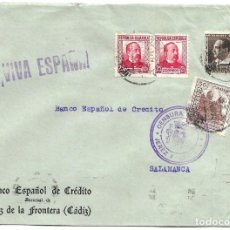 Sellos: 1937 ( 6 ABR) CARTA CENSURA JEREZ (CÁDIZ). GUERRA CIVIL. SELLO REPÚBLICA + SELLO DIPUTACIÓN. Lote 230464275