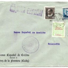Sellos: 1937 CARTA CENSURA JEREZ (CÁDIZ). GUERRA CIVIL. SELLO REPÚBLICA + SELLO PROVINCIAL. Lote 230464330