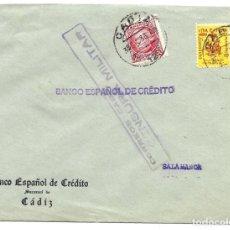 Sellos: 1937 CARTA IMPRESOS CENSURA CÁDIZ. GUERRA CIVIL. SELLO REPÚBLICA + SELLO AYUNTAMIENTO CÁDIZ. Lote 230468575