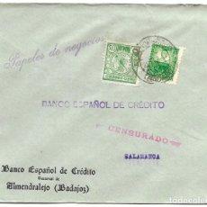 Sellos: 1937 CARTA IMPRESOS CENSURA ALMENDRALEJO BADAJOZ. GUERRA CIVIL. SELLO REPÚBLICA + PARO OBRERO. Lote 230470145
