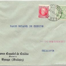 Sellos: 1937 CARTA CENSURA AZUAGA BADAJOZ. GUERRA CIVIL. SELLO REPÚBLICA + PARO OBRERO. Lote 230470455