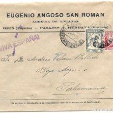 Sellos: 1937 (28 ABR) CARTA CENSURA IRÚN, GUIPÚZCOA. GUERRA CIVIL. SELLO REPÚBLICA + CRUZADA FRIO. Lote 230573420
