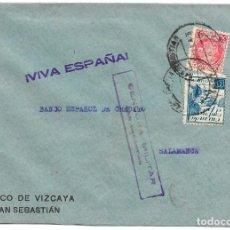 Sellos: 1938 (NOV) CARTA CENSURA SAN SEBASTIAN. GUERRA CIVIL. SELLO REPÚBLICA + CRUZADA CONTRA EL FRIO. Lote 230574205