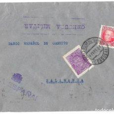 Sellos: 1937 (ENE) CARTA CENSURA PEÑARROYA, CÓRDOBA A SALAMANCA. GUERRA CIVIL. SELLO REPÚBÚBLICA + BENEFICO. Lote 230588010